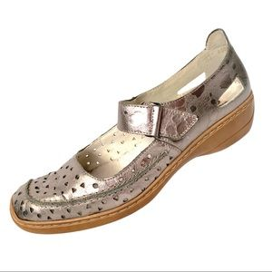 Rieker Silver Leather Cutout Mary Janes 41 (US 10)